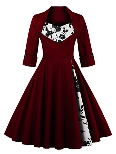 MissNina Women 50s Vintage Classic 3/4 Sleeve Bodycon Evening Bridesmaid Dress Wine/Floral 4XL