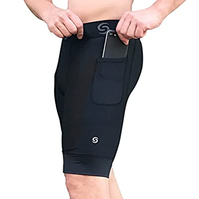 Sport-it Men's Compression Workout Shorts with Pockets for Phone - Base Layer Tights, Short Leggings