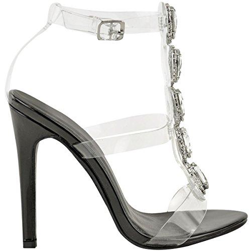 de de Talla Mujer heelberry patente Fashion pedrería Tiras Tacón Alto de Zapatos Aguja negro Perspex Sandalias Thirsty Tacón HOxxqZ8