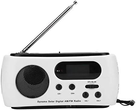 ポータブルハンドクランクAM/FMラジオソーラーパワーラジオ、LED懐中電灯、緊急電話充電器