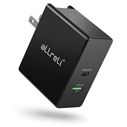 aLLreLi QC 3.0 USB C PD Wall Charger 45W High-Speed& Smart Charge Power Adapter UL Certified, Type C and USB Dual Port Plug Compatible for MacBook, Pixel, iPhone X/8/8 Plus, S9/S9+/S8/S8+, Note 8