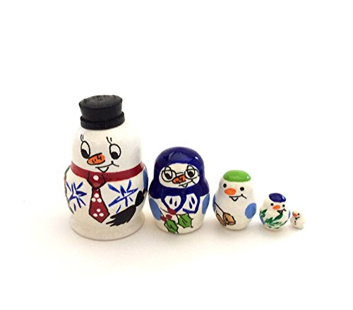 (SNOWMAN MINI Russian Nesting Doll Hand Carved Hand Painted 5 piece DOLL Set)