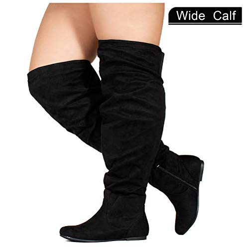 RF ROOM OF FASHION Wide Calf Women's Stretchy Knee High Slouchy Boots