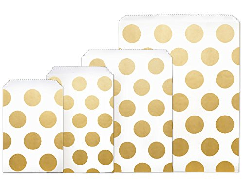 Paper Bagbag - Gold Dots Paper Merchandise BagBags 4 Size Assortment