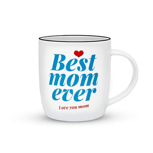 Gifffted Best Mom Ever Coffee Mug, Anniversary and Birthday Gift For World's Best Mom from Daughter and Son, Mother's Day Gifts, Blue, Ceramic, 13 Ounce -