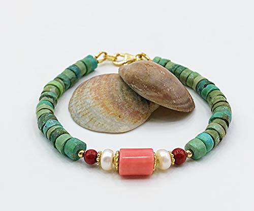 Turquoise Bracelet With Red Coral Stones Combined With White Pearls And A Salmon Coral Barrel Pendant