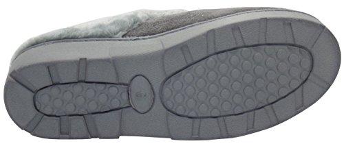 Damen-Slipper aus Kunst-Pelz, Pantoletten/Pumps für Frauen, Warme Hausschuhe Snuggle-Grey