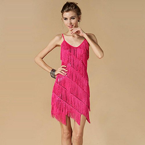 OOFAY Strap flow SU Liang Latin dance dresses , rose red , f (Womens Flow Lotus Lace)