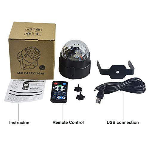 Party Lights Stage Lights 7 Colors Rotatable Magic Crystal Disco Ball Lights Sound Activated with Remote Control Multimode Strobe Lights Gift Luminous Whistle
