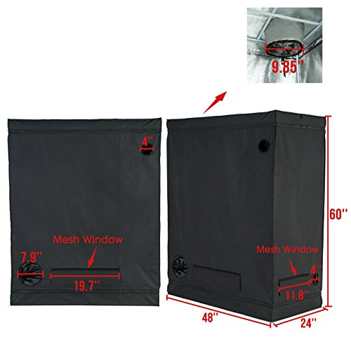 415ATPLwucL - iPyarmid 600D Indoor Grow Tent Room Reflective Mylar Hydroponic Non Toxic Hut