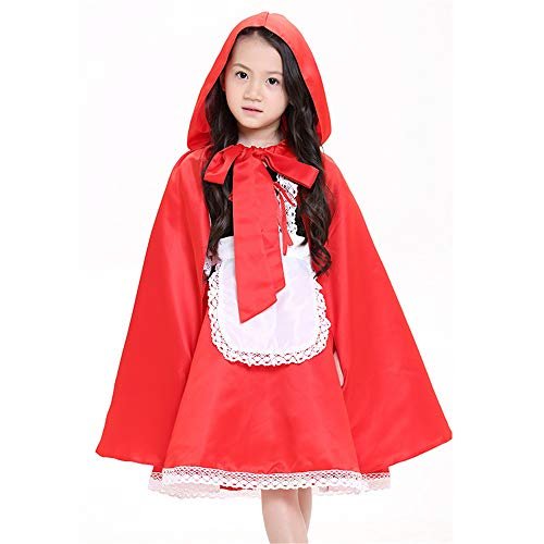 QAR Vestido De Caperucita Roja para Niños Disfraz De Halloween Divertido con Capa De Caperucita Roja Ropa de Mujer (Tamaño...