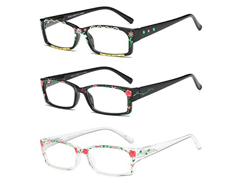 Reading Glasses 3 Pack Readers of Hand Painted Fashion Flexible Spring Hinge R2933-1.50