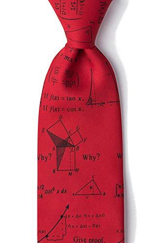 Men's Red Microfiber Math Mathematics Novelty Tie Necktie