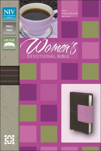 NIV, Women's Devotional Bible, Compact, Imitation Leather, Brown/Pink (small print, lay flat)