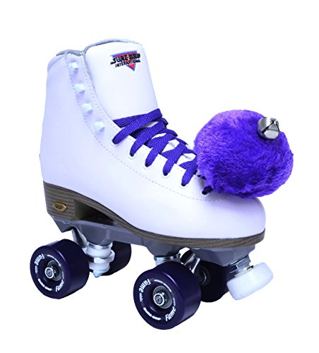 (Sure-Grip White Fame Skates with Purple Pom)