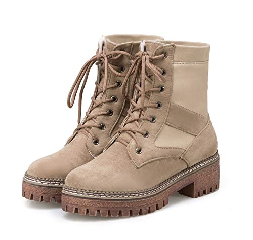 Outsole 8 Shes 3 Short Warm Marrone basso Army Handle Combat Inverno Tacco Liangxie Boots Women Womens Boots Taglia Ankle Outdoor Trainer Casual Autunno 1RxtTqp7w