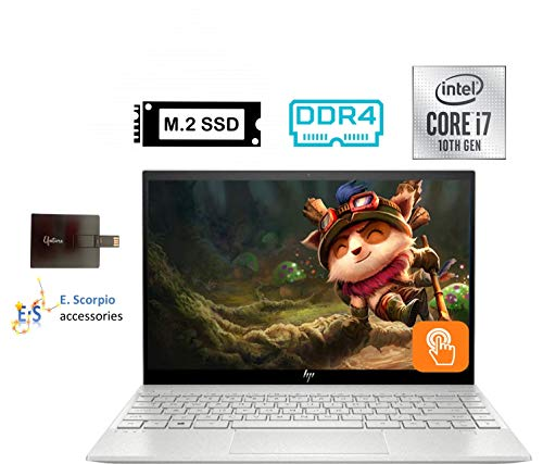 "2020 HP Envy 13.3"" 4K Ultra HD Touch-Screen Laptop Computer 10th Gen Intel i7-1065G7 8GB DDR4 Memory 512GB SSD WiFi 6 Bluetooth 5.0 Silver Windows 10 with E.S 32GB USB (8GB DDR4 RAM, 512GB SSD)"