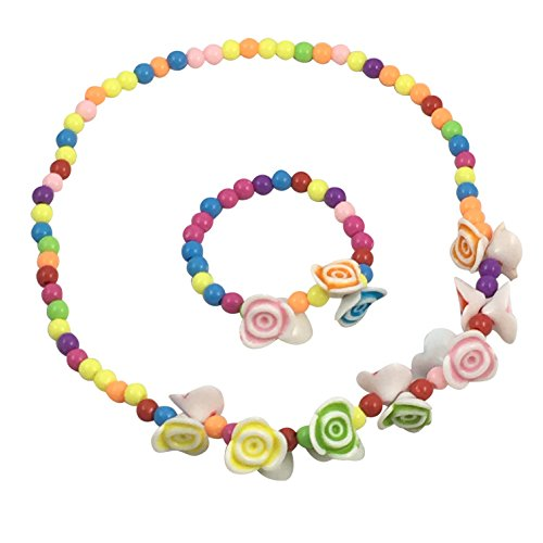 Girls Flower Necklace and Bracelet Set - Spinnaker Collection - Great for Kids - Childrens accessories for events, play or a costume with pink, green, yellow and blue colors of flowers and beads.
