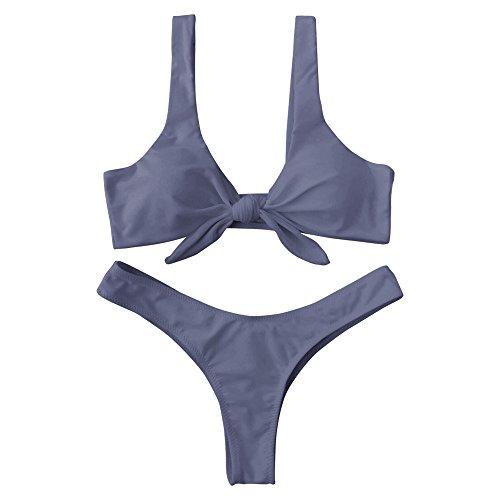 (DressLily Women Knotted Padded Thong Bikini Set 2 Pieces Swimsuit Gray US Size 6)