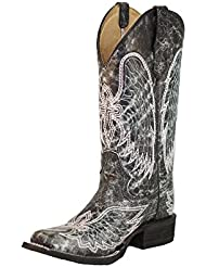Corral Womens Wing and Cross Embroidery Western Square Toe Boots