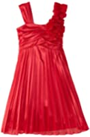 My Michelle Big Girls' Pleated Dress with Shoulder Corsage