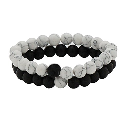 TSK His and Hers Couple Yin Yang Bracelet Black Matte Agate & White Howlite 8mm Beads Bracelet (2pcs)