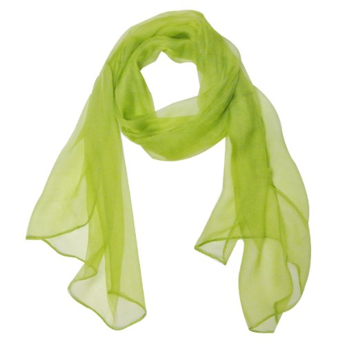 Wrapables Solid Color 100% Silk Long Scarf, Apple Green