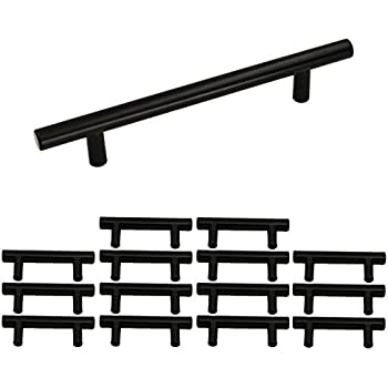 Flat Black Kitchen Cabinet Pulls 3 4in Hole Centers 6in Length Pack Of