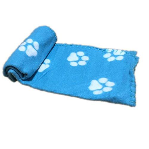vmree Dog Blanket, 70 x 60CM Warm Small Pet Mat Large PAW Print Cat Dog Puppy Fleece Blanket (A, 7060cm)