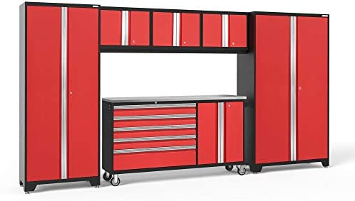 [해외]NewAge Products Garage Storage Cabinet Set 백색 컴퓨터용 책상 / NewAge Products Bold 3.0 Red 6 Piece Set, Garage Cabinets, 56262
