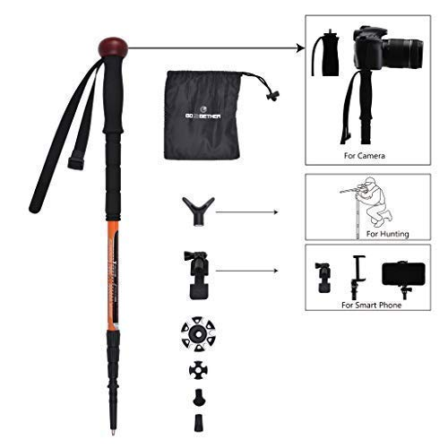 (Trekking Pole Telescopic Walking Stick Hunting Integrated Camera Mount / Smart Phones Holder / Rifle Rest Shooting Support Yoke Attached / 4 Sections / Rotating Lock / 25-61 inches (1)