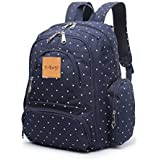 T-Bags Mommy And Baby Polka Dot Blue Backpack Diaper Bag With Changing Mat And Bottle Pouch,Stroller Hook