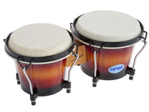 Fever Tunable Bongos 8 & 7 Inch with Black Rims Sunburst Finish, 823-SB by Fever