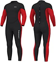 Hevto Wetsuits Men 3mm Neoprene Diving Suits Surfing Swimming Long Sleeve Keep Warm Back Zip for Water Sports