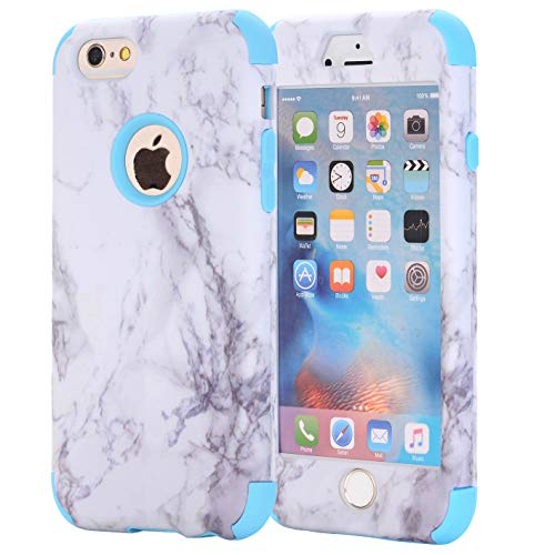 iPhone 7 Case, AOKER [Marble Design] Slim Dual Layer Anti-Scratch &Fingerprint ShockProof Clear Bumper Matte TPU Soft Rubber Silicone Protective Case Fit for Apple iPhone 7 4.7 inch (Blue)