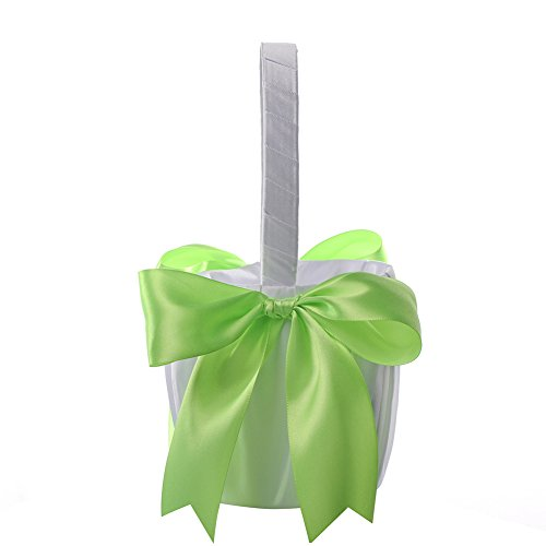Flower Girl Basket Wedding Collection Traditional White (Green)