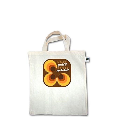 Vintage - Ich hab's gelebt - 70s - Unisize - Natural - XT500 - Fairtrade Henkeltasche / Jutebeutel mit kurzen Henkeln aus Bio-Baumwolle