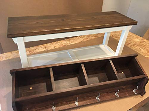 Hallway Mud Room Foyer Bench 30 Inches and Matching Coat Rack Cubbies