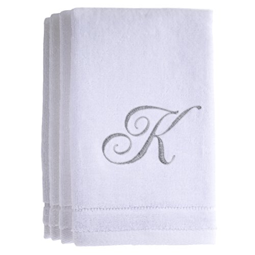(Monogrammed Towels Fingertip, Personalized Gift, 11 x 18 Inches - Set of 4- Silver Embroidered Towel - Extra Absorbent 100% Cotton- Soft Velour Finish - For Bathroom/ Kitchen/ Spa- Initial K (White))