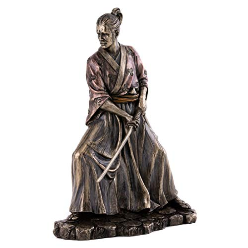 (Top Collection Samurai in Combat Statue - Japanese Warrior Sculpture with Sword in Premium Cold Cast Bronze- 8.25-Inch Collectible Medieval Bushi)