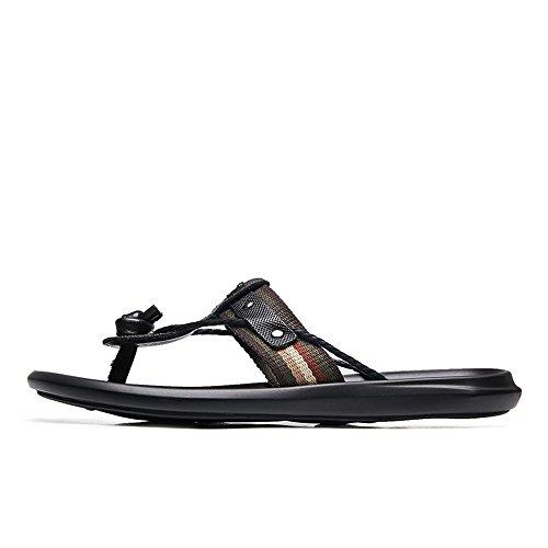 Color Chancletas Negro con correa Tufanyu Sandalias suela playa Zapatillas antideslizante con de Negro de tamaño 36 EU Negro cuero de hombre Zapatos genuino 4Swqfdw