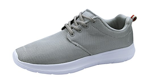 T&Mates Mens Comfort Lace-Up Fashion Sneakers Breathable Sport Running Athletic Shoes (Gray, 10 D(M) US)