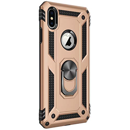 (iPhone X/XS|XS Max|XR case Protective Cover 360 Degree Ring with Holder Kickstand Hard Shell for Magnetic Car Mount (iPhone XSMax, Gold))