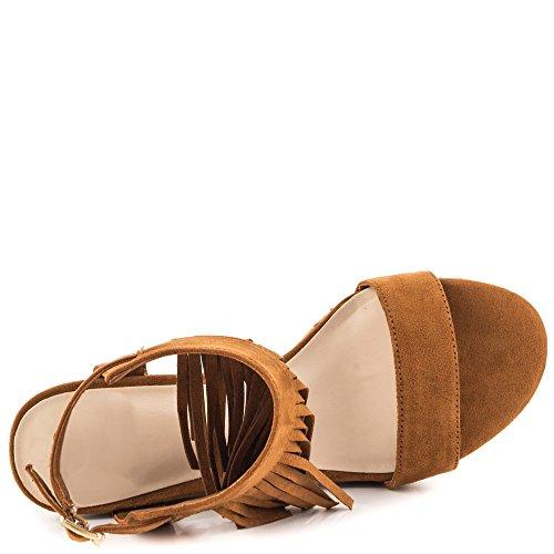 MERUMOTE - sandalias con cuña Mujer marrón