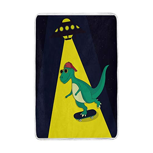 ZZKKO Animal Funny Skater Dinosaur Blanket Throw Warmer for Kids Baby Boy Girl Home Decorative Couch Soft Bed Living Room Nap Mat Outdoor Travel