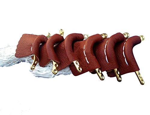 (Scott Edward Pool Snooker Table Leather Pockets, Billiard Leather Net Pockets, Set of 6, Brown)