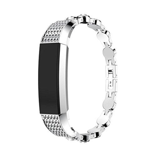 Pour Fitbit Alta HR/Fitbit Alta Diamant rond en acier Sangle en maille métallique solide en acier inoxydable Interlock Fermoir