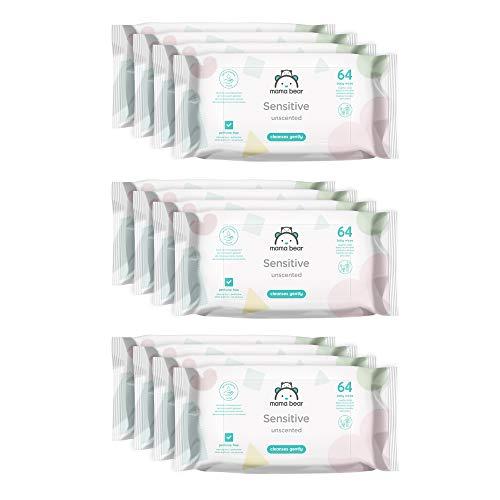🥇 Marca Amazon –  Mama Bear Sensitive Toallitas húmedas para bebé – 12 Paquetes