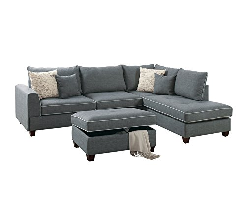Poundex F6542 PDEX-F6542 Living Room Chaise Lounges, Slate