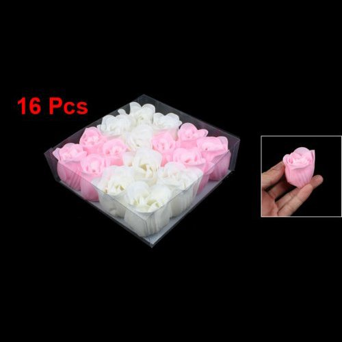 TOOGOO(R) 16 Pcs Pink White Bathing Scented Rose Soap Petals